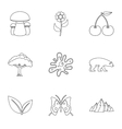 Flora icons set outline style vector image vector image
