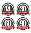 Free trial badges set with ribbons vector image