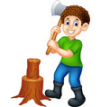 funny boy with axe and wood cartoon vector image