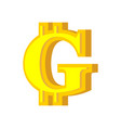 g letter bitcoin font cryptocurrency alphabet vector image