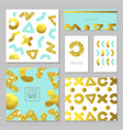 golden glitter card template set abstract gold vector image vector image
