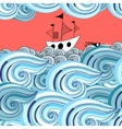 graphic pattern of waves and ship vector image vector image