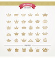 heraldic elements design set of golden crowns vector image