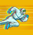 hero doctor runs covid19 coronavirus epidemic vector image