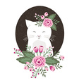 Hipster kitty with flowers on vintage textured vector image vector image