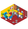 isometric fast food restaurant concept vector image vector image