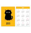 pocket calendar 2019 year week starts sunday vector image vector image