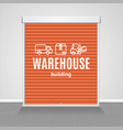 realistic detailed 3d red warehouse shutter door