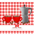 red coffee cups on gingham pattern vector image vector image