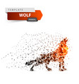 red wolf howls - dot vector image
