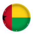 round metallic flag of guinea-bissau with screws vector image vector image