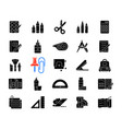 school supplies black glyph icons set on white vector image
