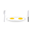 Scrambled eggs Two fried eggs on plate Cutlery vector image vector image