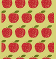 seamless pattern fruit red apple vector image vector image