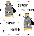 seamless pattern with hand drawn bear hero vector image vector image