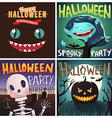 Set of Happy Halloween cartoon Party posters or vector image