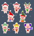 set of stickers eight pigs in different hats and a vector image vector image