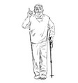 sketch of an smiling old man walking with a vector image