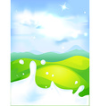 splash of milk - with green field and natura vector image vector image