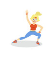 sportive young woman in sportswear working out in vector image vector image
