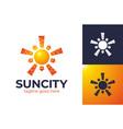 sun city logo sun over cityscape skyscrapers vector image