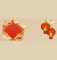 template with rhomb and chinese lanterns and vector image
