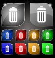 The trash icon sign Set of ten colorful buttons vector image vector image