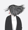 this girl hair hits the wind vector image vector image