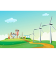 Three windmills at the hilltop across the high vector image