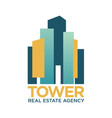 tower real estate agency emblem with abstract vector image