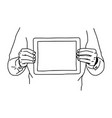 two hands holding tablet on his chest - vector image vector image