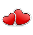two red glossy hearts vector image vector image