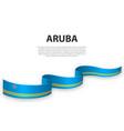 waving ribbon or banner with flag aruba