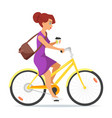 woman riding on the bike with coffee in her hand vector image vector image