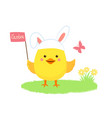 yellow happy chicken with egg vector image