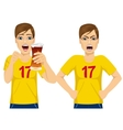 young man watching sports on tv vector image vector image