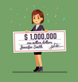 young smiling woman holding money prize check for vector image