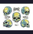 Skulls Hand Drawn Set 3 vector image
