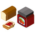 3d design for strawberry jam and bread vector image vector image