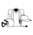 american football sport game cartoon in black and vector image vector image