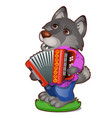 animated wolf in clothes with the harmonica vector image vector image