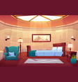 bedroom in castle or palace empty sunny apartment vector image vector image