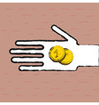 Beggar hand with coins vector image