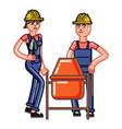 builders crew knead concrete vector image vector image