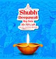 Burning diya on shubh deepawali meaning happy