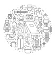 Camping Line Art Icons vector image vector image