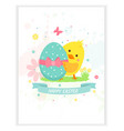 card with yellow happy chicken with egg vector image vector image