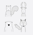 cartoon cute animals many a highlight vector image vector image