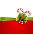 Christmas decoration with holly leaves and candy vector image