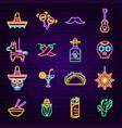 cinco de mayo neon icons vector image vector image